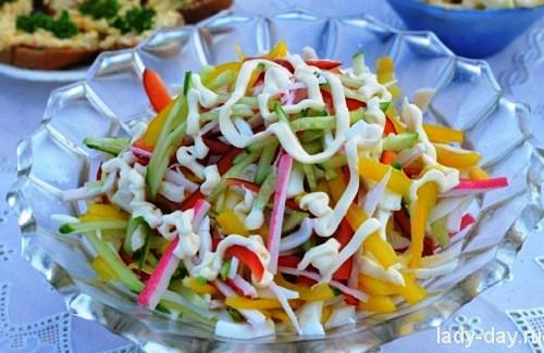 рецепт салата царский с кальмарами и крабовыми