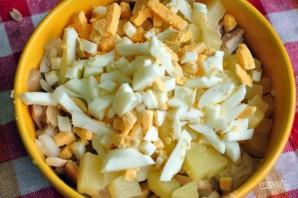 Салат с курицей, шампиньонами и ананасом - фото шаг 3