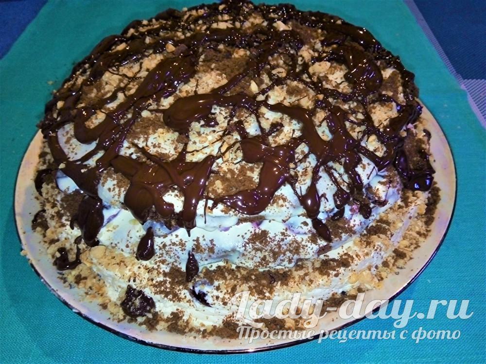 Торт с творожным кремом и шоколадом
