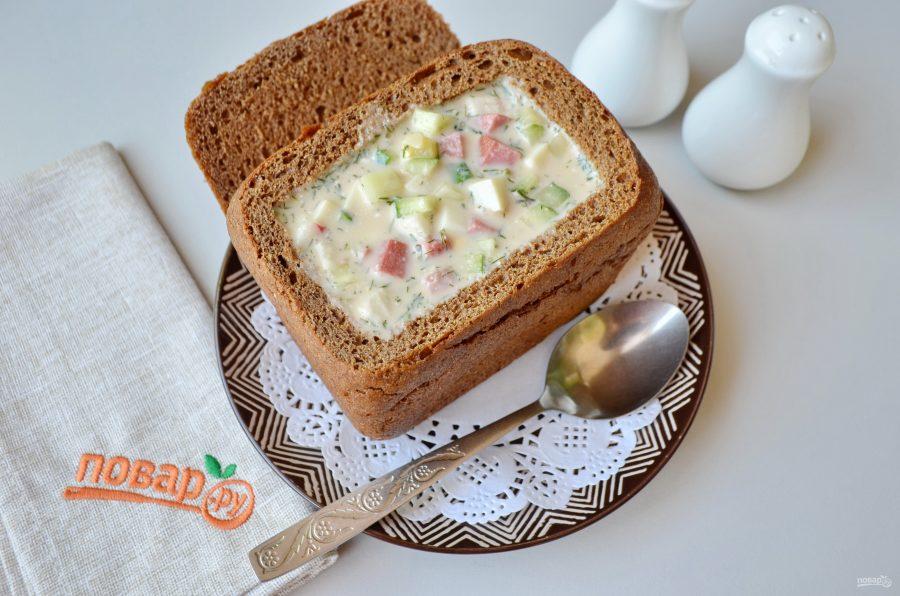 Окрошка в хлебной тарелочке