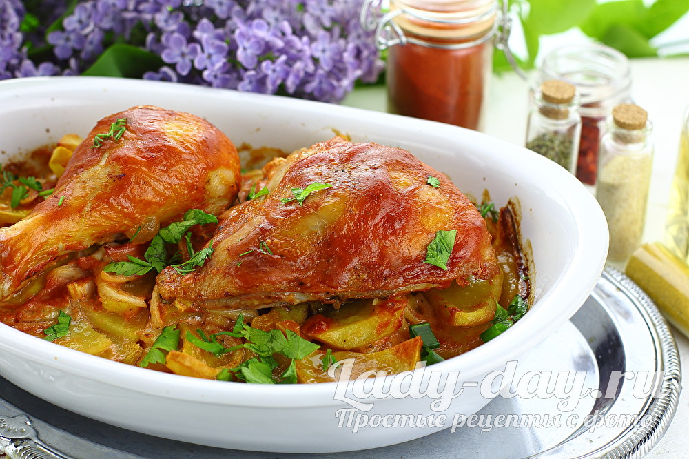 окорочка с картошкой в духовке с хрустящей корочкой рецепт с фото