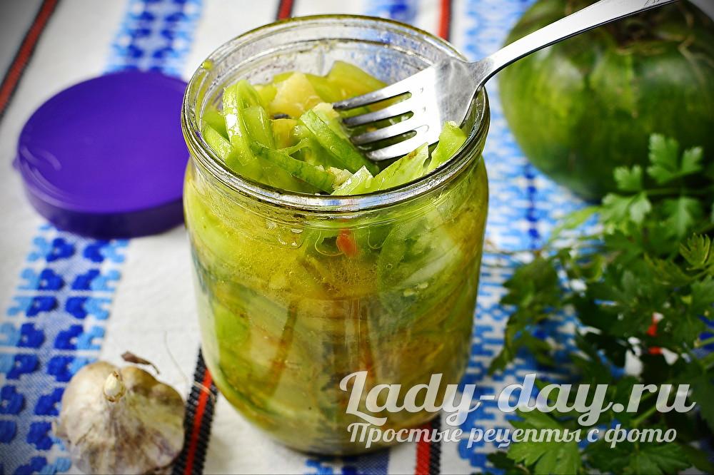 салат из зеленых помидоров на зиму без варки