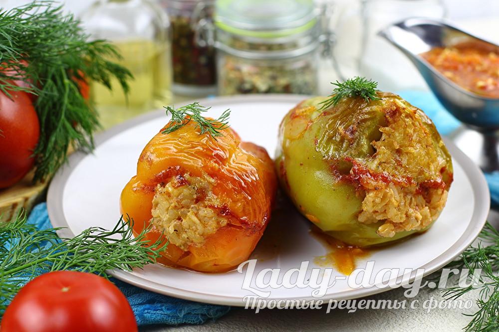 Рецепт фаршированных перцев в духовке с фаршем и рисом
