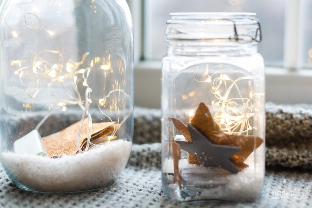 Лампочки в банках на Новый год