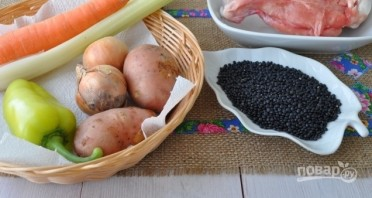 Суп из черной чечевицы с индейкой - фото шаг 1