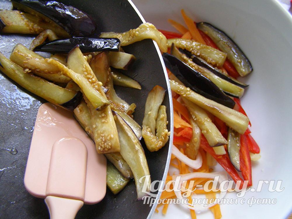 Баклажаны с овощами по-корейски