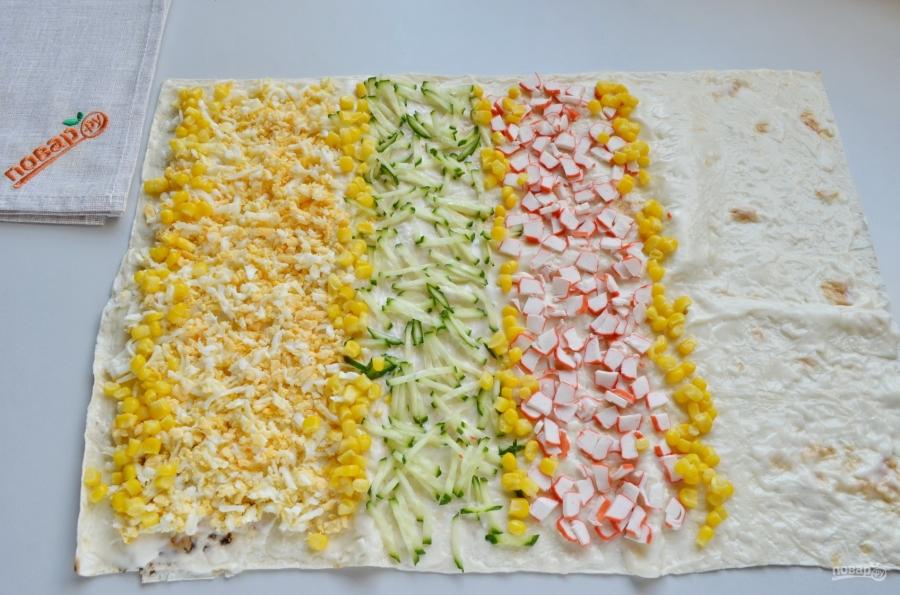 Как приготовить рулет из лаваша с крабовым салатом
