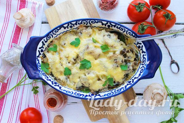 Картошка с шампиньонами в духовке, со сметаной или сливками