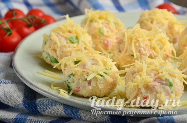 Шарики с крабовыми палочками и сыром, рецепт с фото