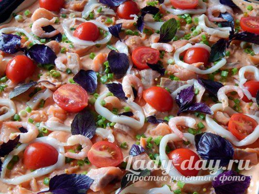 креветки на пицце