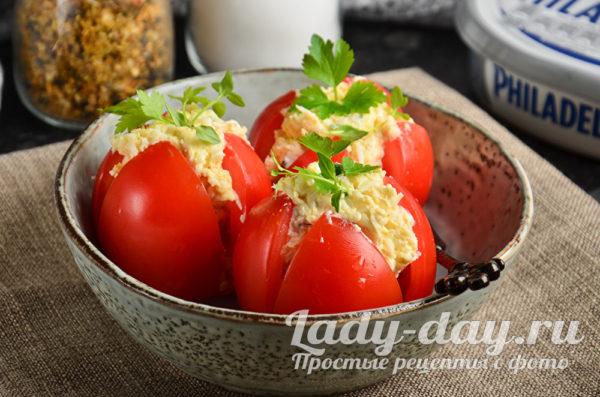фаршированные помидоры с сыром и чесноком, рецепт