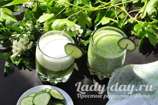 Кефир с огурцами и зеленью для похудения