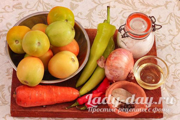 зеленые помидоры и овощи