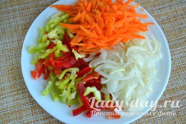 лук, перец, морковь