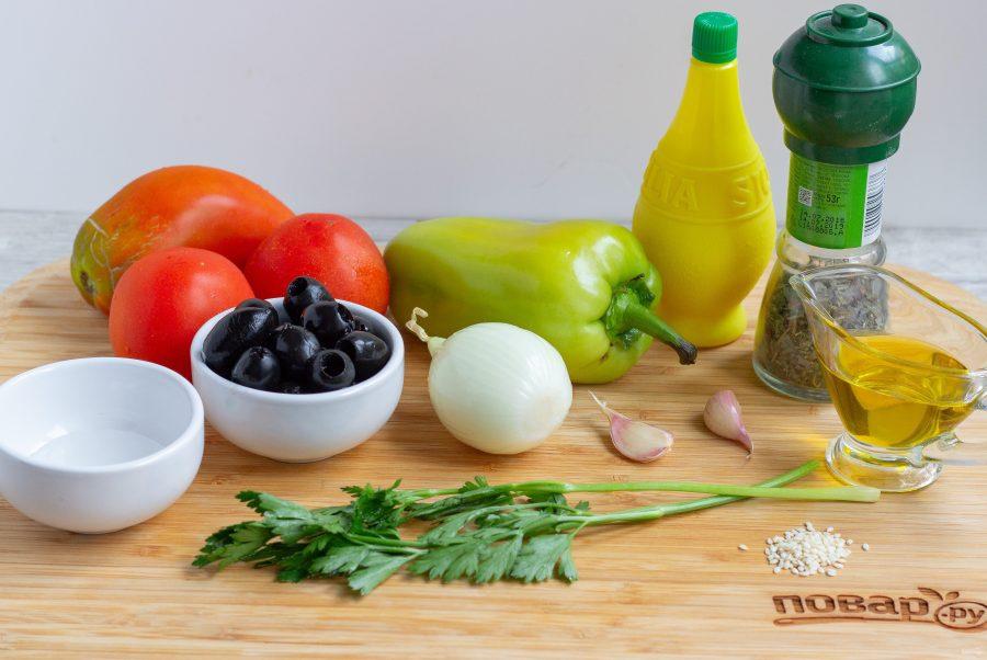 Ингредиенты для быстрого овощного салата