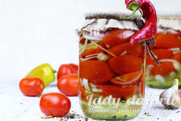 Самые вкусные помидоры с луком на зиму