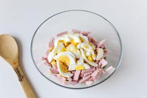 Салат из стручковой фасоли с колбасой - фото шаг 6