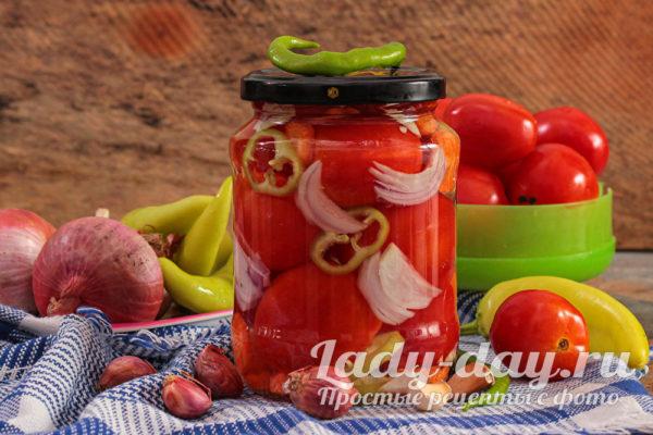 Ну очень вкусные маринованные помидоры с болгарским перцем на зиму