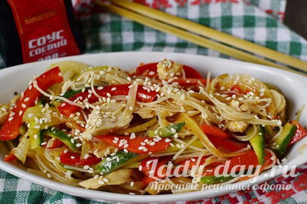 Рецепт фунчозы с курицей и овощами