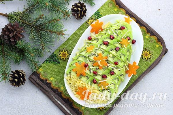 Ёлочка - новогодний салат с курицей и ананасами