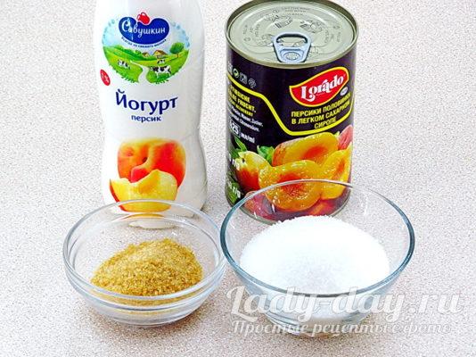 йогурт и персики