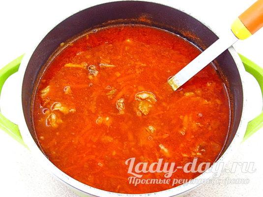 суп с фасолью и томатом