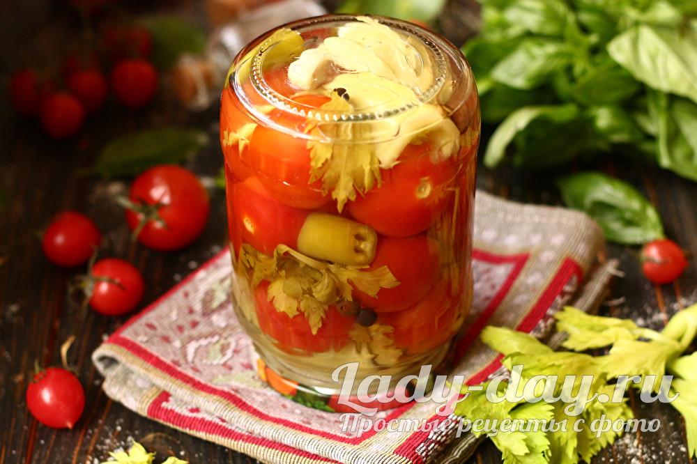 Самые вкусные маринованные помидоры с сельдереем, съедаются моментально!